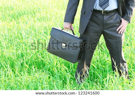 Businessman in blue shirt and tie standing with crossed legs in grass field with confident look  Space for inscription