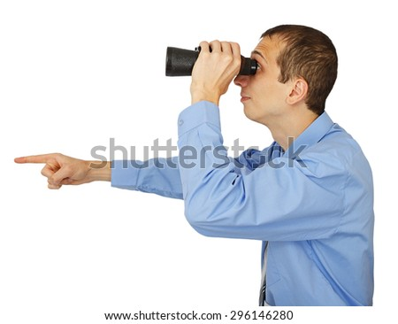 Businessman in blue shirt looking with his binocular and pointing to the copy space