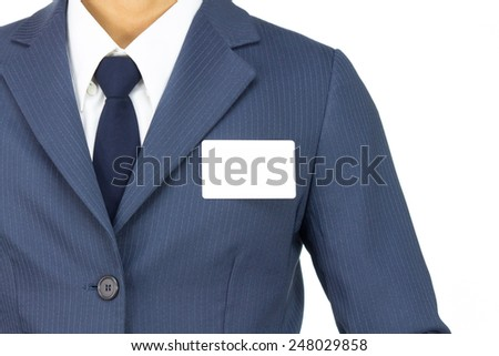 Businessman in Blue Suit Attach Business Card or White Card Isolated on White Background. Concept about Name or Advertise or Organization. - stock photo
