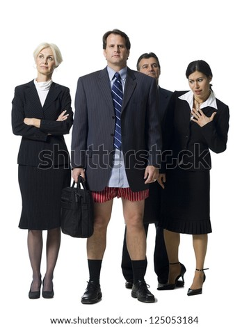 Businessman in boxers with other businesspeople