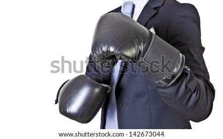 businessman in boxing gloves isolated on a white background