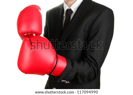 businessman in boxing gloves isolated on white - stock photo