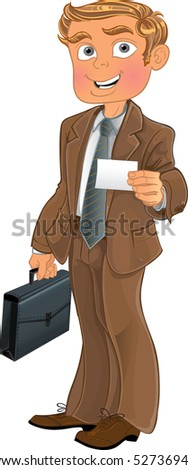 Businessman in brown suit with business card in office. raster version