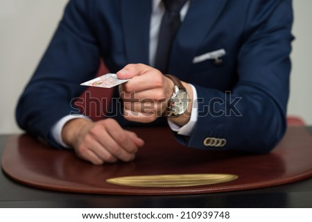 Businessman In Business Suit Pay By Credit Card - stock photo
