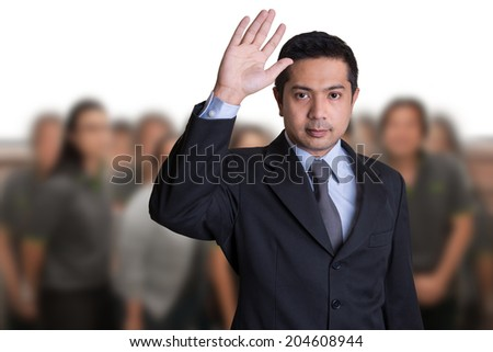 Businessman In Conference Raising Hands - stock photo