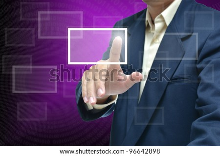 Businessman in dark blue suit with different hand concept with purple gradient background.