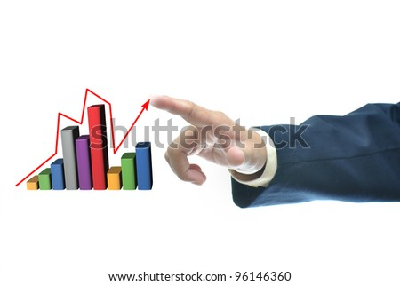 Businessman in dark blue suit with selection concept over white background. - stock photo