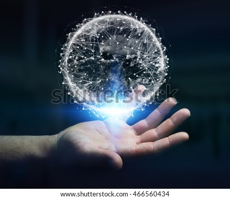 Businessman in dark office using digital tactile world interface with his finger '3D rendering'