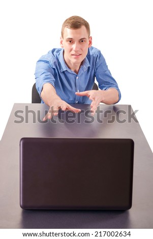 businessman in despair at his laptop - stock photo