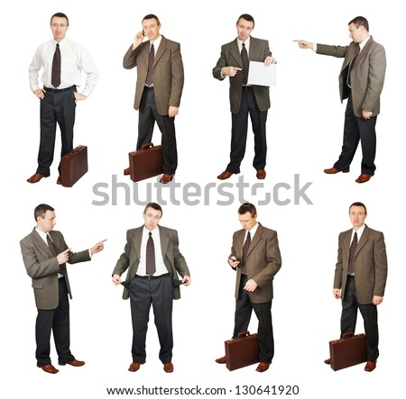 Businessman In Different Situations In Diverse Poses. Collage. Hi-res images inside my portfolio - stock photo