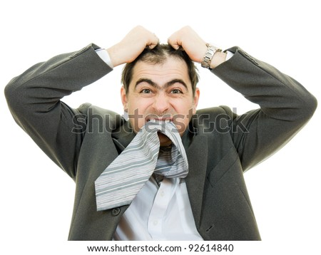 Businessman in distress on a white background. - stock photo