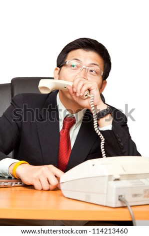 Businessman in distress on a white background, with clipping path. - stock photo