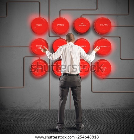 Businessman in doubt with his nervous system - stock photo