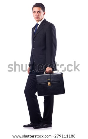 Businessman in formal attire isolated on white - stock photo