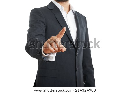 businessman in formal wear pushing forefinger screen on white background - stock photo