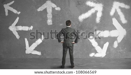 Businessman in front of a choice