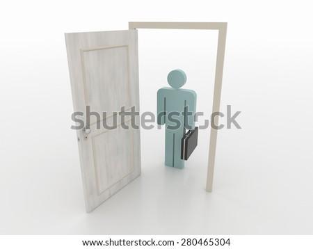 Businessman in Front of an Open Door, 3D Render - stock photo