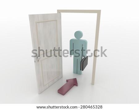 Businessman in Front of an Open Door with Red Arrow Symbol, 3D Render - stock photo