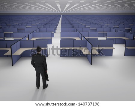 Businessman in front of endless office cubicles. Recruitment. Burn out at work. crisis and unemployment. - stock photo