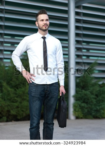 Businessman in front of working place, businessman going to work