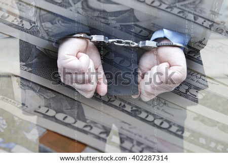 Businessman in handcuffs and Dollar money - stock photo