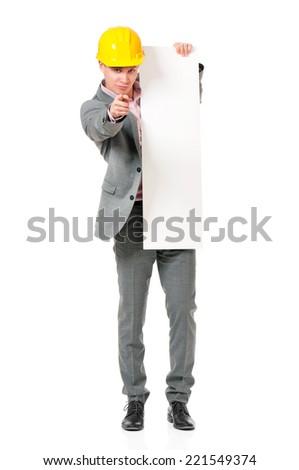 Businessman in hard hat - stock photo