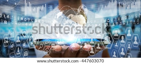 Businessman in his office during a presentation with charts screens '3D rendering' - stock photo