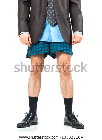 Businessman in his underwear on a white background with reflection - stock photo