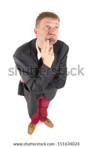 Businessman in jacket are makes a gesture - stock photo