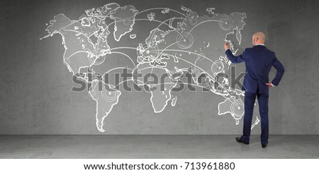 Young man drawing world map on stock photo 148733327 shutterstock businessman in modern interior drawing manuscript world map connection on a wall 3d rendering gumiabroncs Choice Image