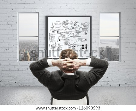 businessman in office and graphs concept