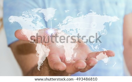 Businessman in office holding digital  world map with his hand 3D rendering