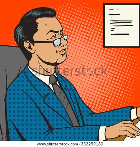 Businessman in office pop art retro style raster illustration. Comic book style imitation. Boss at the table