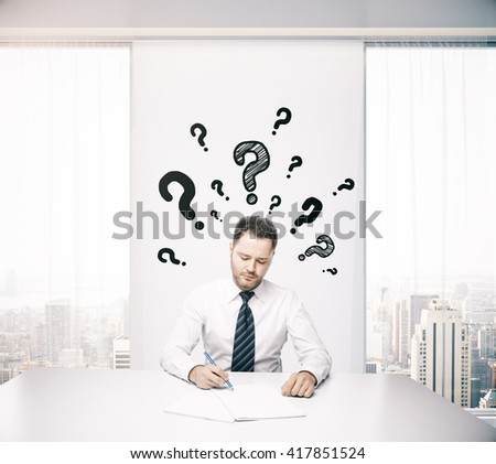 Businessman in office thinking about answers to his questions while doing paperwork. 3D Rendering