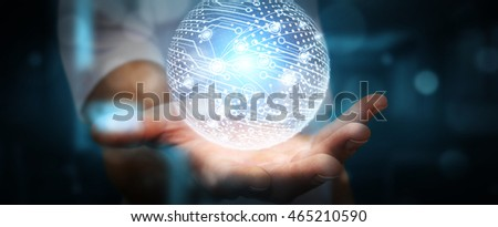 Businessman in office touching digital data network with his fingers '3D rendering'