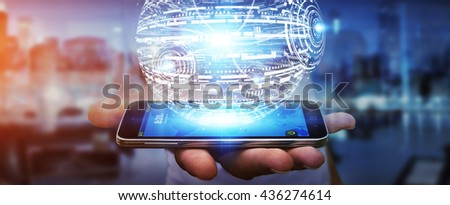 Businessman in office touching digital data network with his mobile phone - stock photo