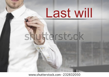 businessman in office writing last will in the air - stock photo