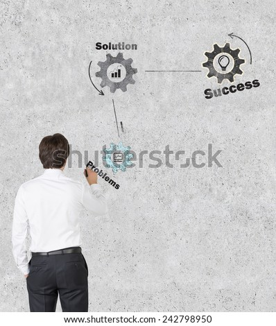 businessman in room drawing cogwheel  on wall, success concept - stock photo