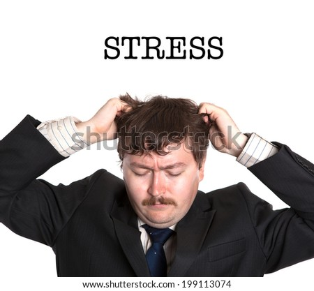 businessman in stress on a white background