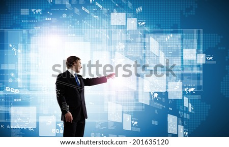 Businessman in suit against digital background with icons