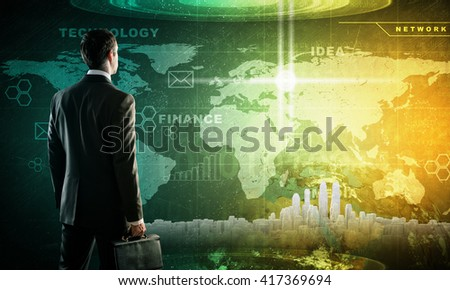 Businessman in suit against digital background with icons and city model