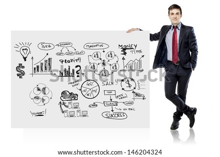 businessman in suit and business plan on white board - stock photo