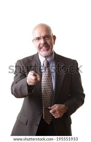 businessman in suit and  pointing finger isolated on white background