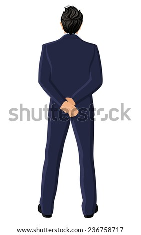 Businessman in suit full length hands back view portrait isolated on white background  illustration
