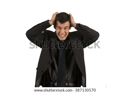Businessman in suit getting crazy