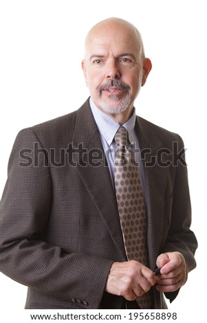 businessman in suit holding pen and smiling isolated on white background