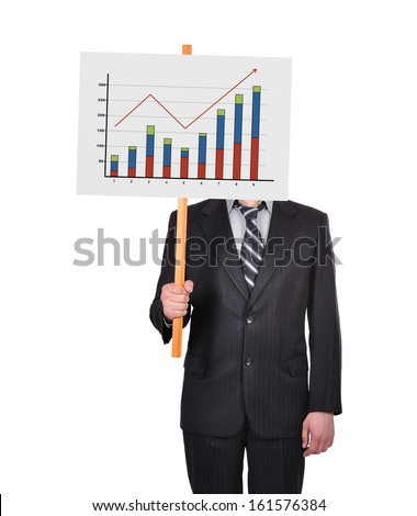 businessman in suit holding signboard with graph of profits