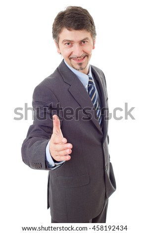 businessman in suit offering to shake the hand, isolated - stock photo