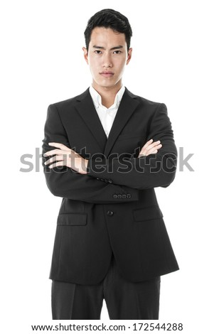 Businessman in suit posing - stock photo