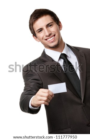 Businessman in suit showing his empty business card with copy space to write your own text, isolated on white - stock photo